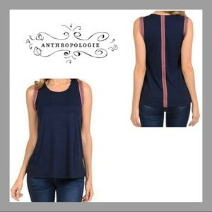 Anthropologie W5 Embroidered Trim Tank Top Sz S
